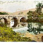 A digital painting of Grindleford Bridge, Derbyshire, England by Dennis Melling