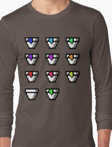 Multi Pixel Cups with Juices Long Sleeve T-Shirt