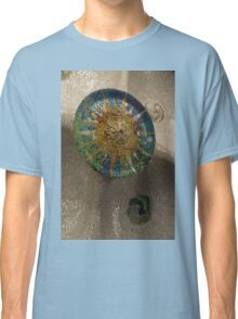 Stylized Sun - Antoni Gaudi's Ceiling Medallion at Hypostyle Room in Park Guell - Left Vertical Classic T-Shirt