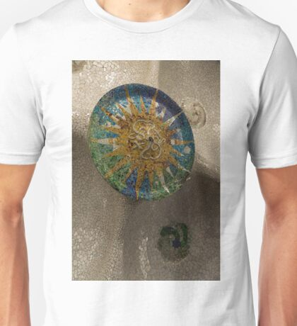 Stylized Sun - Antoni Gaudi Ceiling Medallion at Hypostyle Room in Park Guell - Left Vertical Unisex T-Shirt