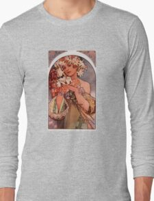 'Flowers' by Alphonse Mucha (Reproduction) Long Sleeve T-Shirt