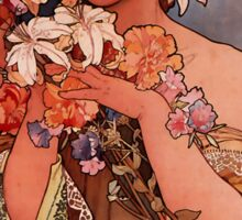'Flowers' by Alphonse Mucha (Reproduction) Sticker