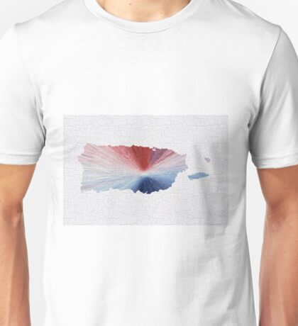 Colorful Art Puerto Rico Map Blue, Red and White Unisex T-Shirt