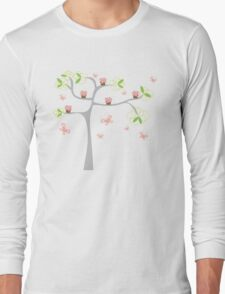 Whimsical Pink Cupcakes Tree Long Sleeve T-Shirt