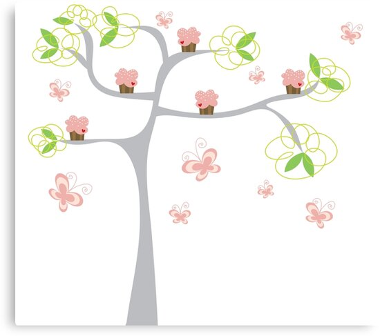 Whimsical Pink Cupcakes Tree by fatfatin