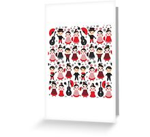 Flamenco boys and girls with guitar, castanets and fans Greeting Card