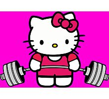 Hello Kitty Lifting Weights Photographic Print