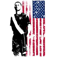 Dempsey with USA Flag Photographic Print