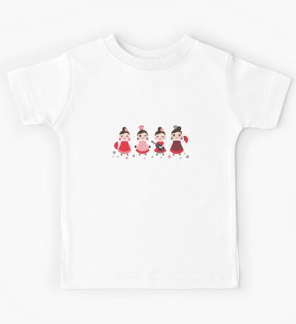 Flamenco girls with fans and guitars Kids Tee