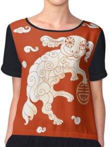 Long Life White Cloud Foo Dog Women's Chiffon Top