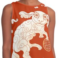 Long Life White Cloud Foo Dog Contrast Tank