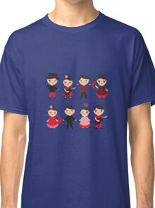 Flamenco boys and girls with guitar, castanets and fans Classic T-Shirt