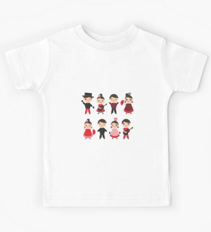 Flamenco boys and girls with guitar, castanets and fans Kids Tee