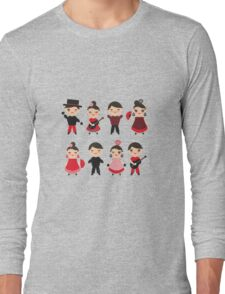 Flamenco boys and girls with guitar, castanets and fans Long Sleeve T-Shirt