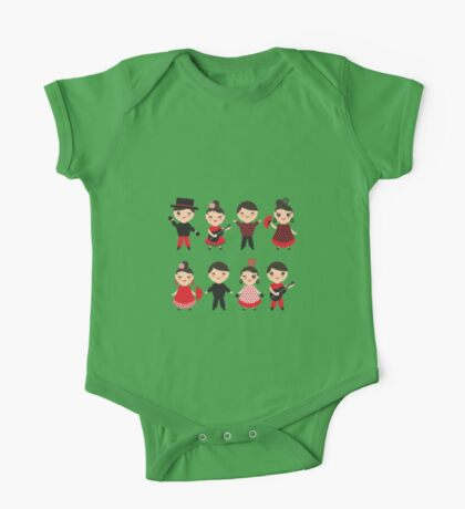 Flamenco boys and girls with guitar, castanets and fans One Piece - Short Sleeve