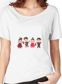 Happy flamencos on blue Women's Relaxed Fit T-Shirt