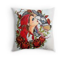 Red and The Wolf Throw Pillow