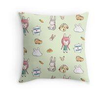 Pancake <3 bunny pattern Throw Pillow