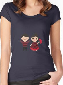 Flamenco boy and girl 2 Women's Fitted Scoop T-Shirt