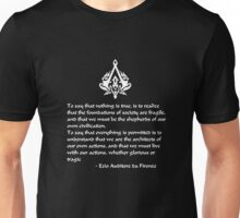 Nothing is True, Everything is Permitted (White Lettering) Unisex T-Shirt
