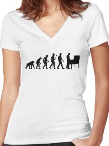 Funny Evolution Of Pinball Women's Fitted V-Neck T-Shirt