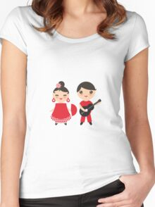 Flamenco boy and girl 3 Women's Fitted Scoop T-Shirt