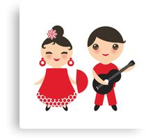 Flamenco boy and girl 3 Canvas Print