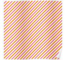 Stripes Diagonal Orange Pink Peach Simple Modern Poster