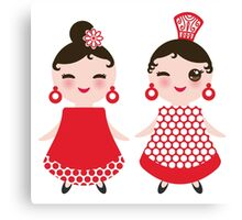 Flamenco girls Canvas Print