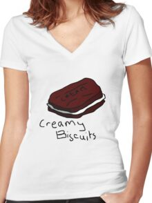 Creamy Biscuits Women's Fitted V-Neck T-Shirt