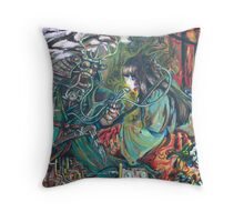 Asian Collab painting Throw Pillow