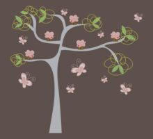 Whimsical Pink Cupcakes Tree One Piece - Short Sleeve