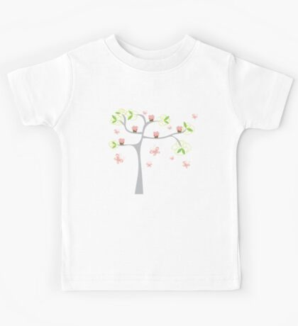 Whimsical Pink Cupcakes Tree Kids Tee