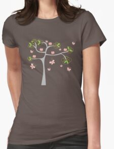 Whimsical Pink Cupcakes Tree Womens Fitted T-Shirt