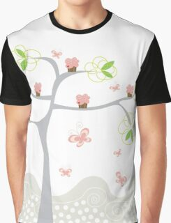 Whimsical Pink Cupcakes Tree Graphic T-Shirt
