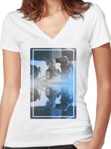 CRA Flight Deck 2 Blue Women's Fitted V-Neck T-Shirt