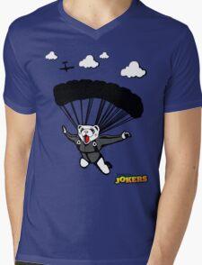 Skydiving Ferret  Mens V-Neck T-Shirt