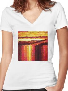 Waterfall at Sunset Women's Fitted V-Neck T-Shirt
