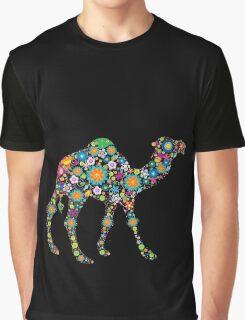 Cute Colorful Retro Floral Camel Graphic T-Shirt