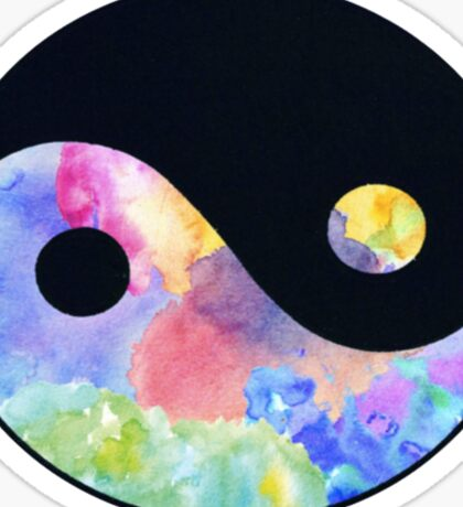 Rainbow ying yang Sticker