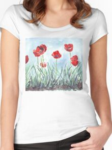 Poppies mean Spring! Women's Fitted Scoop T-Shirt