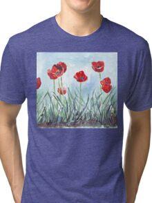 Poppies mean Spring! Tri-blend T-Shirt