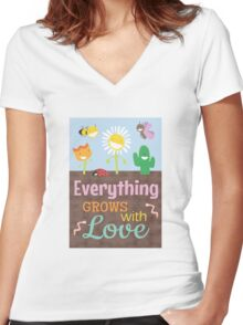 Everything Grows With Love Women's Fitted V-Neck T-Shirt
