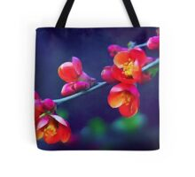 Painted Quince Blossoms Tote Bag