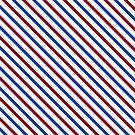 Stripes Diagonal Carmine Red Cobalt Blue Simple Modern by Beverly Claire Kaiya