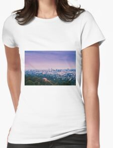 View of Brisbane City from Mount Coot-tha Womens Fitted T-Shirt