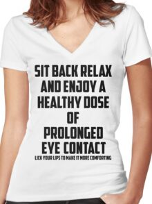 Bo Burnham - Prolonged Eye Contact Women's Fitted V-Neck T-Shirt