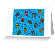 Bright mexican floral skull Greeting Card