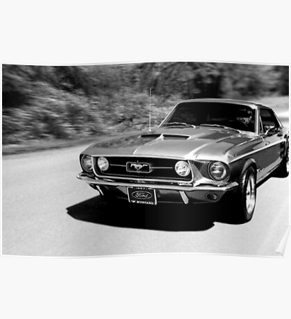 1967 Ford Mustang B/W  Poster