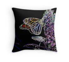 Monarch Butterfly Neon on butterfly bush Throw Pillow